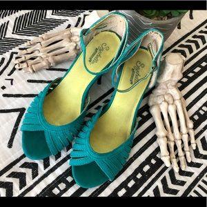 Seychelles Heritage Peep Toe Heel Strap Leather 7